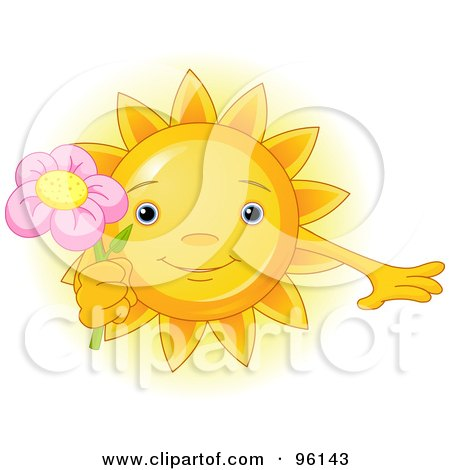 Royalty-Free (RF) Clipart Illustration of a Cute Sun Face Holding A Pink Flower by Pushkin