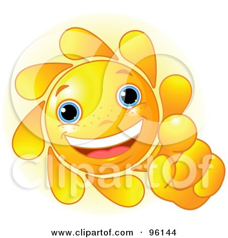 Royalty-Free (RF) Clipart Illustration of a Cute Sun Face Pointing Outwards by Pushkin