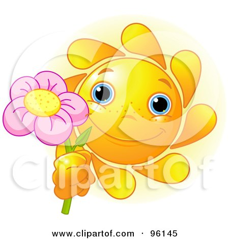 Royalty-Free (RF) Clipart Illustration of a Cute Sun Face Holding Up A Pink Flower by Pushkin