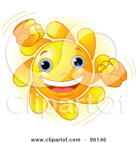 Royalty-Free (RF) Clipart Illustration of a Cute Sun Face Doing A Happy Dance by Pushkin