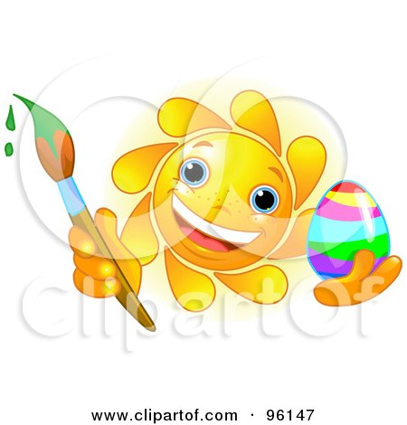 Royalty-Free (RF) Clipart Illustration of a Cute Sun Face Painting An Easter Egg by Pushkin