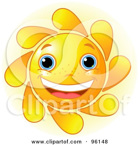 Royalty-Free (RF) Clipart Illustration of a Cute Sun Face Smiling by Pushkin