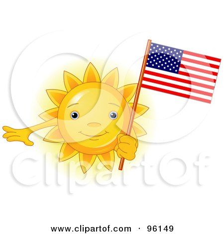 Royalty-Free (RF) Clipart Illustration of a Cute Sun Face Holding An American Flag by Pushkin