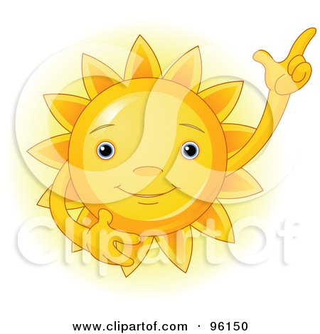 Royalty-Free (RF) Clipart Illustration of a Cute Sun Face Gesturing Upwards by Pushkin