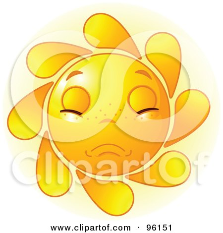 Royalty-Free (RF) Clipart Illustration of a Cute Sun Face With A Sad Expression by Pushkin