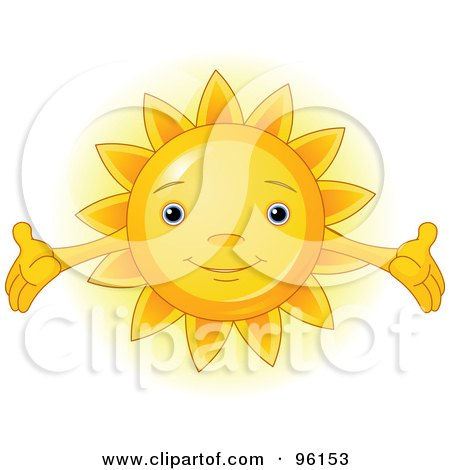 Royalty-Free (RF) Clipart Illustration of a Cute Sun Face With Open Arms by Pushkin