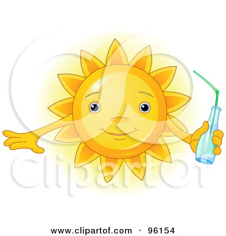 Royalty-Free (RF) Clipart Illustration of a Cute Sun Face Holding A Beverage by Pushkin