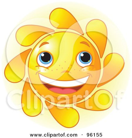Royalty-Free (RF) Clipart Illustration of a Cute Sun Face With Blue Eyes And A Big Smile by Pushkin