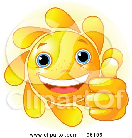 Royalty-Free (RF) Clipart Illustration of a Cute Sun Face Holding A Thumb Up by Pushkin