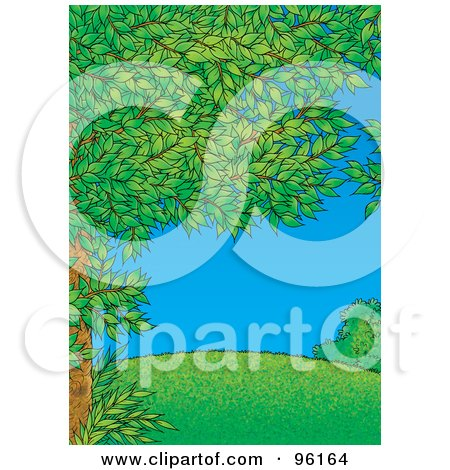 Royalty-Free (RF) Clipart Illustration of a Tree Full Of Green Spring Foliage, Framing A Park Scene Of A Grassy Hill On A Clear Day by Alex Bannykh