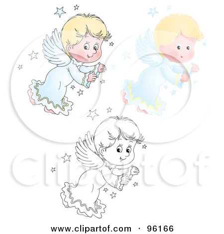 Royalty-Free (RF) Clipart Illustration of a Digital Collage Of A Cute Blond Angel Shown In Airbrush, Cartoon And Outline by Alex Bannykh