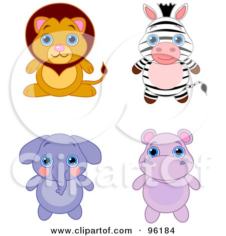 Royalty-Free (RF) Clipart Illustration of a Digital Collage Of An Adorable Baby Lion, Zebra, Elephant And Hippo by Pushkin
