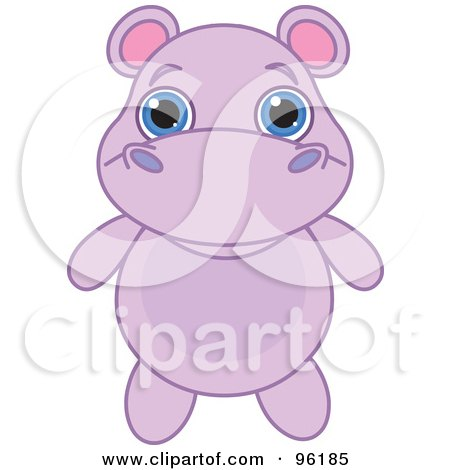 Royalty-Free (RF) Clipart Illustration of an Adorable Baby Purple Hippo With Big Blue Eyes by Pushkin