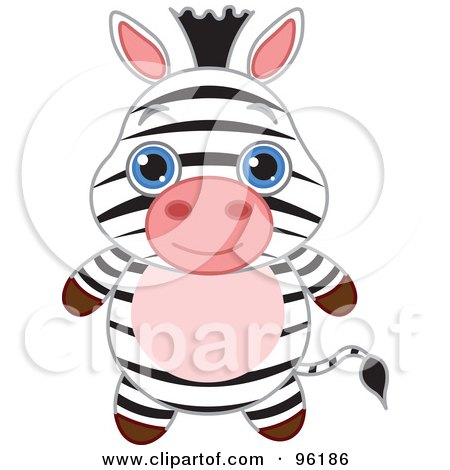 Royalty-Free (RF) Clipart Illustration of an Adorable Baby Zebra With Big Blue Eyes by Pushkin