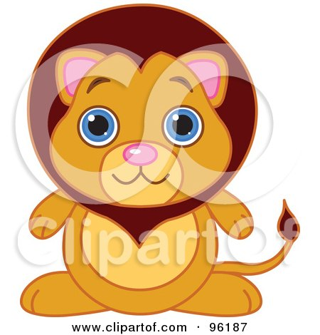 Royalty-Free (RF) Clipart Illustration of an Adorable Baby Male Lion With Big Blue Eyes by Pushkin
