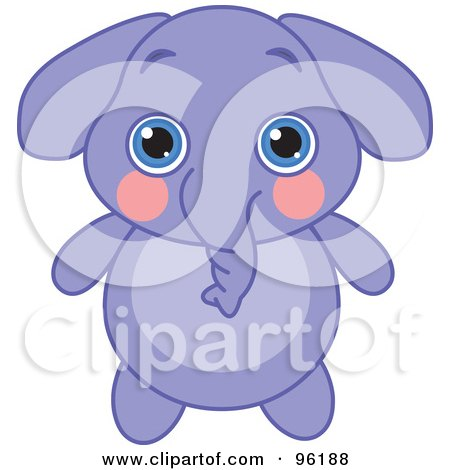 Royalty-Free (RF) Clipart Illustration of an Adorable Baby Purple Elephant With Big Blue Eyes by Pushkin