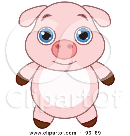 Royalty-Free (RF) Clipart Illustration of an Adorable Baby Pink Piglet With Big Blue Eyes by Pushkin