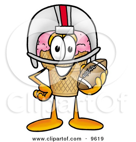 Ice Cream Cone Mascot Cartoon Character in a Helmet, Holding a Football Posters, Art Prints