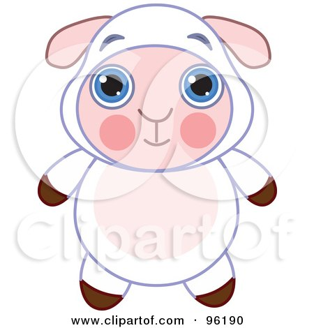Royalty-Free (RF) Clipart Illustration of an Adorable Baby Sheep With Big Blue Eyes by Pushkin