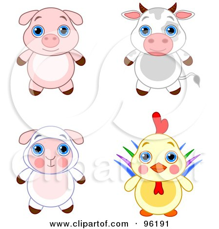Royalty-Free (RF) Clipart Illustration of a Digital Collage Of An Adorable Baby Piglet, Bull, Lamb And Rooster by Pushkin