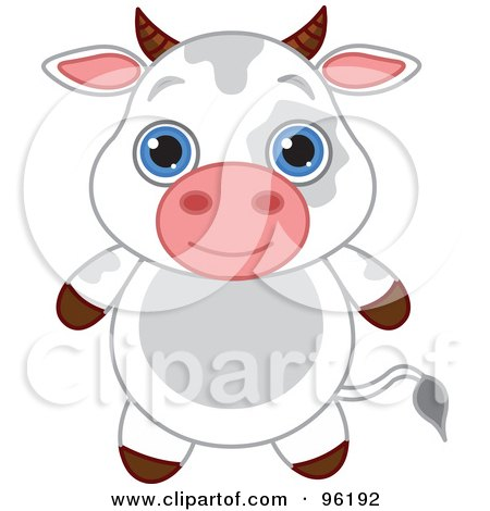 Royalty-Free (RF) Clipart Illustration of an Adorable Baby Cow With Big Blue Eyes by Pushkin