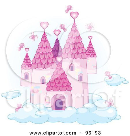 Royalty-Free (RF) Clipart Illustration of Pink Butterflies Surrounding A Fairy Tale Castle In The Sky  by Pushkin