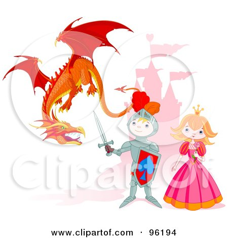 Royalty-Free (RF) Clipart Illustration of a Cute Knight Protecting A Princess From A Mean Dragon Near A Castle by Pushkin