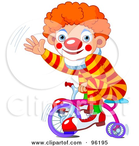 Cute Clown Boy Riding A Trike And Waving Posters, Art Prints