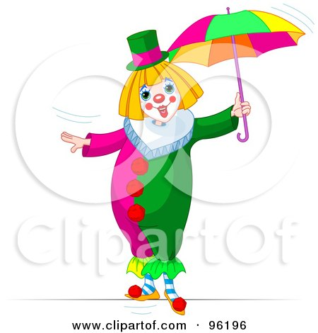 Royalty-Free (RF) Clipart Illustration of a Cute Clown Walking With An Umbrella On A Tightrope by Pushkin