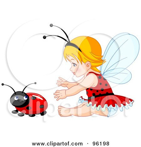 Baby Fairy Girl Reaching For A Ladybug Posters, Art Prints