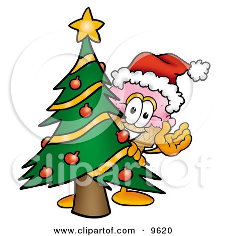Ice Cream Cone Mascot Cartoon Character Waving and Standing by a Decorated Christmas Tree Posters, Art Prints