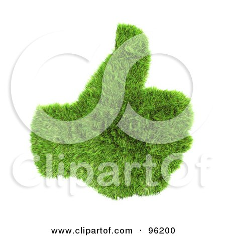 Royalty-Free (RF) Clipart Illustration of a Green 3d Grass Hand With A Thumb Up by chrisroll