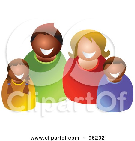 Royalty-Free (RF) Clipart Illustration of a Happy Mixed Family - 1 by Prawny
