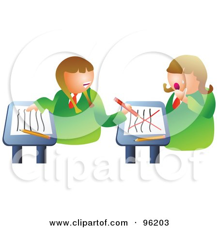 Royalty-Free (RF) Clipart Illustration of a Mean School Girl Turning Around To Bully A Classmate by Prawny