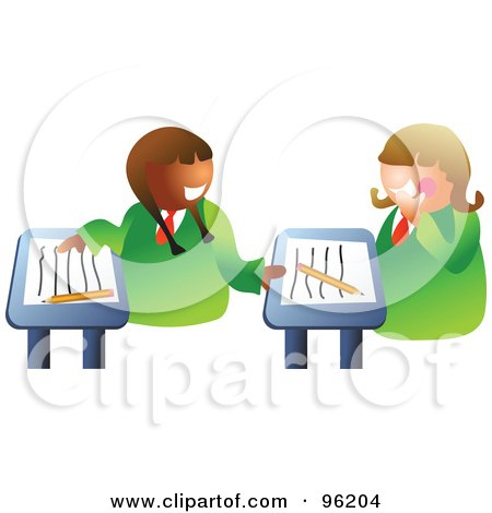Royalty-Free (RF) Clipart Illustration of a Two School Girls Chatting At Their Desks In Class by Prawny