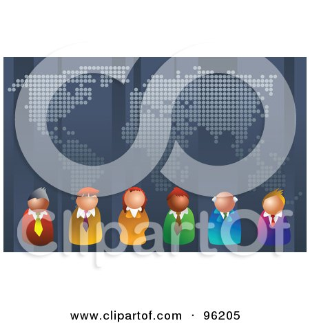 Royalty-Free (RF) Clipart Illustration of a Team Of Business People Lined Up Under A World Map by Prawny