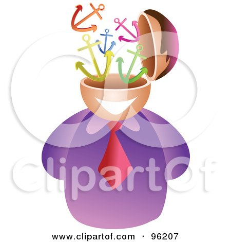 Royalty-Free (RF) Clipart Illustration of a Businessman With An Anchor Brain by Prawny