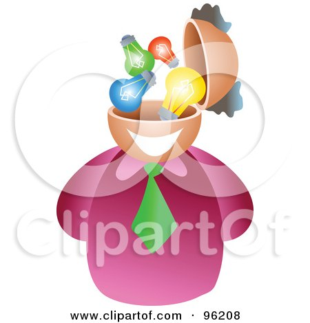Royalty-Free (RF) Clipart Illustration of a Businessman With A Light Bulb Brain by Prawny
