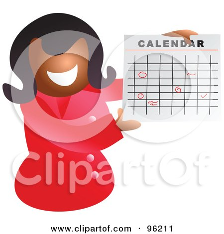 Royalty-Free (RF) Clipart Illustration of a Happy Black Woman Holding Up A Calendar With Circled Dates by Prawny