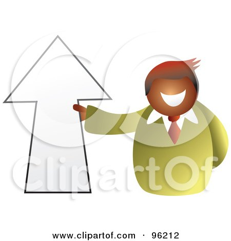 Royalty-Free (RF) Clipart Illustration of a Businessman Holding An Up Arrow by Prawny