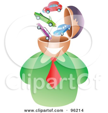 Royalty-Free (RF) Clipart Illustration of a Businessman With An Automotive Brain by Prawny