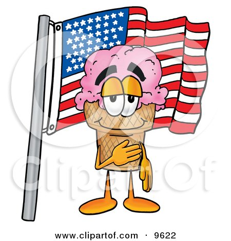 Ice Cream Cone Mascot Cartoon Character Pledging Allegiance to an American Flag Posters, Art Prints
