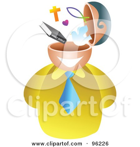 Royalty-Free (RF) Clipart Illustration of a Businessman With A Christian Brain by Prawny