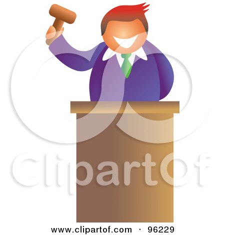 Royalty-Free (RF) Clipart Illustration of a Friendly Auctioneer Holding Up A Gavel Behind His Podium by Prawny