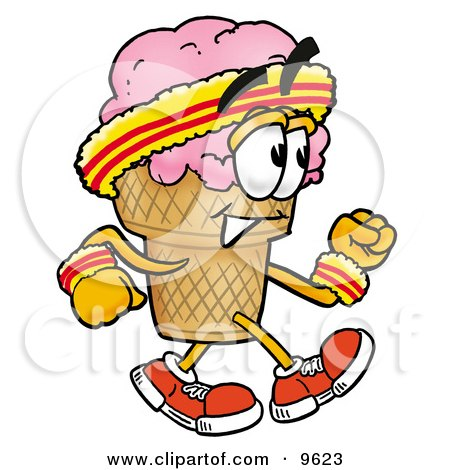 Ice Cream Cone Mascot Cartoon Character Speed Walking or Jogging Posters, Art Prints