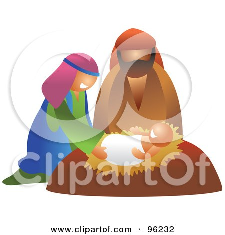 Mary And Joseph Smiling Down On Baby Jesus Posters, Art Prints
