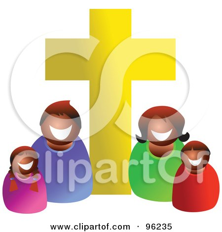 Happy Black Or Hispanic Christian Family Under A Golden Cross Posters, Art Prints