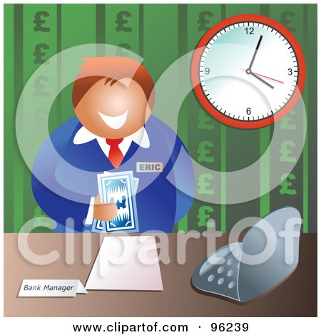 Royalty-Free (RF) Clipart Illustration of a Friendly Male Bank Manager Holding Euro Cash by Prawny