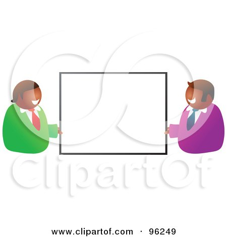 Royalty-Free (RF) Clipart Illustration of Two Happy Hispanic Businessmen Holding Up A Blank Sign by Prawny