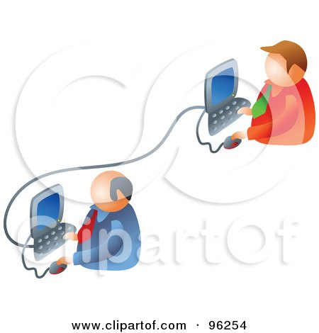 Royalty-Free (RF) Clipart Illustration of Two Businessmen Working On A Business Network by Prawny